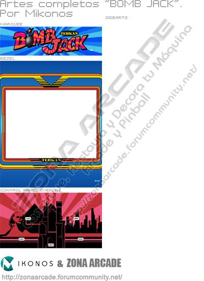 """Artes completos para decorar la máquina recreativa """"Bomb Jack Arcade Cabinet"""""""